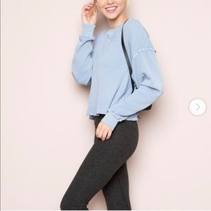 Brandy Melville cropped blue thermal long sleeve